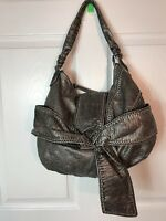 Marc Ecko Silver Faux Reptile Leather Light Big Bow Soft Hobo Shoulder Bag Purse