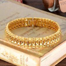 Men's 24K Gold Plated Jewelry Heavy Thick Cut Hip Hop Curb Chain Bracelet Cuban