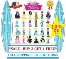Disney Princess Minifigures Frozen Ariel Cinderella Belle Elsa Anna Moana Aurora