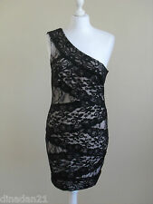 Womens Lipsy dress, size 14, bodycon, lace, black, one shoulder, brand new