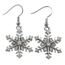 Snowflake Bridesmaid Bridal Wedding Dangle Earring Clear Crystal Fashion Jewelry