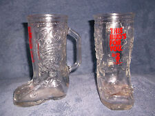 "PAIR OF BUDWEISER COWBOY BOOT BEER GLASSES "" THIS BUD'S FOR YOU "" GABBY'S SALOON"