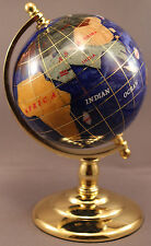 Multi-Gemstone 90mm Desktop Globe in Navy Blue Pearl - Gold Tone Base Free S&H