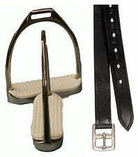 "CHILDRENS ENGLISH SADDLE FILLIS STIRRUPS IRONS 4"" WITH BLACK STIRRUP LEATHERS"