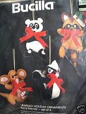 Christmas Bucilla FELT Applique Holiday ORNAMENT Craft Kit,FURRY FRIENDS,#48617