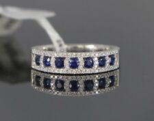 $2,850 18K White Gold Blue Sapphire Round Diamond Wedding Ring Band Size 6.5