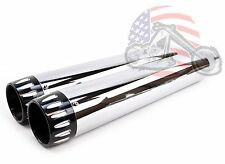 "4.5"" Chrome Slip-On Mufflers CNC Black End Cap Exhaust Pipes Harley Touring"