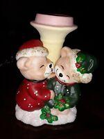 Vintage Porcelain Christmas  Candle Holder