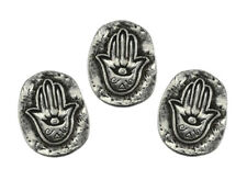 """Hamsa Hand Protection from Evil Eye 1"""" Palm Pocket Stone Coin Talisman Set of 3"""