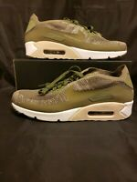 Nike Air Max 90 Ultra 2.0 Flyknit (875943-200) Medium Olive Shoes Mens Size 11.5