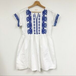 Crewcuts girl's blue white embroidered dress lightweight cotton dress Sz 16 New