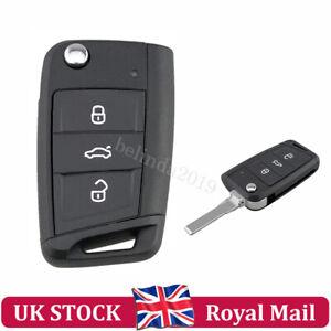 For VW Remote  Polo Passat Golf Seat Skoda Flip Car Key Fob Case Shell 3 Button