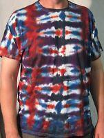 Tie Dye Shirt Adult XL Red Night Stripe Handmade Free Shipping 100% Cotton Tee