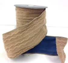 """Textured Soft Woven Knit Wired Ribbon~Beige, Blue Denim Back~4"""" W x 5 yds."""