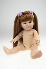 "soft vinyl girl 16"" semi play dolls education toy with golden hair and blue eyes"