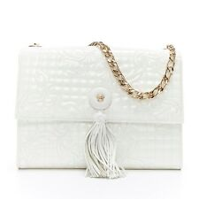 VERSACE white Vanitas Barocco quilted patent Medusa tassel gold chain flap bag
