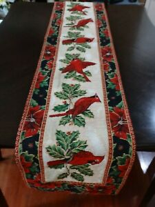"""St. Nickolas Square Cardinals Christmas Tapestry Table Runner 72"""" L x 13"""" w"""