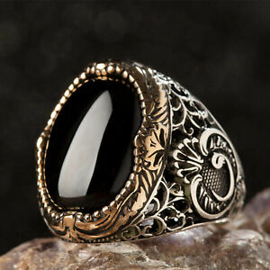 Men's Ring with Black Onyx Natural Stone, 925k Sterling Silver Ring