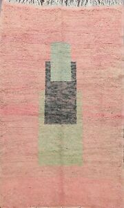 Geometric Authentic Moroccan Vegetable Dye Oriental Area Rug Handmade Wool 5'x7'