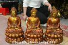 Tibet Buddhism Pure Bronze Gilt Shakyamuni Sakyamuni Amitabha Buddha Statue Set