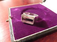 Exclusiver 925 Silber Ring Zirkonia Schwarz Weiß Modern Drei Steine Schwer Chic