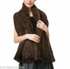 "100% Real Women Coffee Knit Mink Fur Long Shawl Scarf Wrap Winter 65""X14""inches"