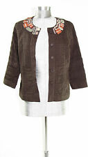 CHICO'S - Women's Size 0 Chocolate Brown Gorgeous Textured Beaded Jacket
