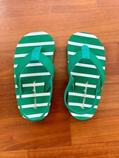 Hanna Anderson Flip Flops, Boys, Size 7-8, Green And White Stripes
