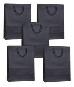 5 BLACK MATT LAMINATED MEDIUM BAGS ~ LUXURY BIRTHDAY PRESENT PARTY GIFT BAG