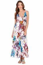 Ladies 100% Cotton Summer Blue Multi Coloured Floral Long Sun Dress