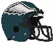 Counted Cross Stitch Pattern, Philadelphia Eagles Helmet - Free US Shipping