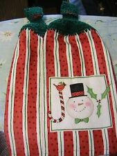 2 SNOWMAN JOY crochet top kitchen~bath hand towels~green tops~XMAS~JOY BUTTONS