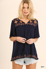 UMGEE Bohemian Embroidered Top Tunic Blouse Tassels Navy Medium