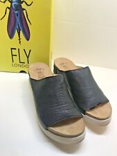 Fly Mousse Black Leather Slip on Shoes Ladies Size 11-11.5 Euro 42