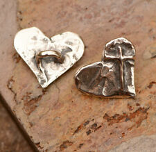 Artisan Sterling Silver Buttons // Cross on Heart Button // B-733