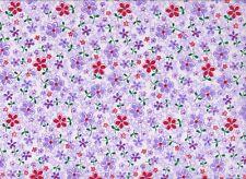 Lilac Floral Polycotton Fabric (112cm wide)