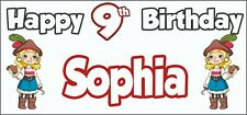 Girl Pirate 9th Birthday Banner x 2 - Party Decorations - Personalised ANY NAME