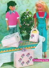 WICKER WINDOW BENCH FASHION DOLL SUIT CASE PLASTIC CANVAS PATTERN INSTRUCTIONS