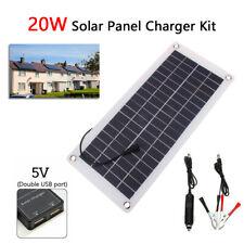 12V 20W Portable Solar Panel Car Van Boat Caravan Camper Trickle Battery Charger