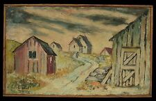 1920-30's Russian Poor Jewish Village, Original Oil Painting on Burlap, Signed