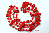 Hand Blown Red Glass Necklace, Made in Japan Vintage