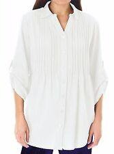 Woman Within NEW WHITE Pintuck Roll Sleeve Shirt PLUS SIZES UK 18/20 to 26/28