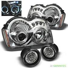 For 05-07 Grand Cherokee Twin Halo LED Projector Headlights + LED Fog Lights