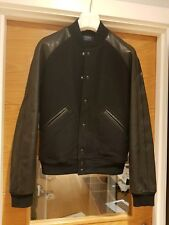 Ralph Lauren Men's Black Iconic Team Varsity Stadium Jacket Premium Leather RARE