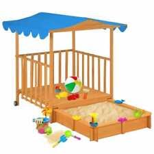 vidaXL Speelhuis voor Kinderen met Zandbak Hout Blauw Kinderspeelhuis Spelen