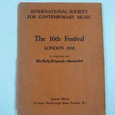 concert programme INTERL SOCIETY FOR CONTEMPORARY MUSIC 16th festival 1938