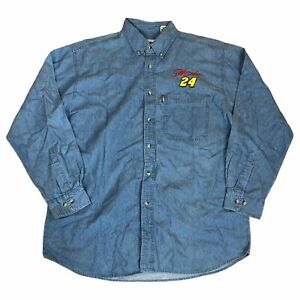 Nascar Denim Shirt Large Blue Jeff Gordon 24 Button Up Competitors View