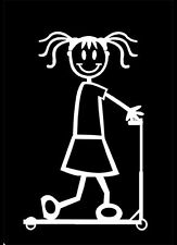 G5 GIRL ON SCOOTER - MY STICK FIGURE FAMILY CAR WINDOW STICKER DECAL