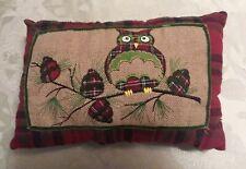 Red Plaid Fleece Owl Throw Pillow