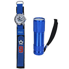 Ravel Blue Football Watch And Micro Torch Boys xmas Gift Set R4402